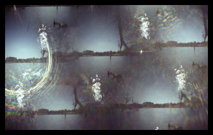 Image of water taken with a camera with 7 pinholes