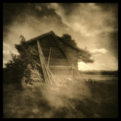 The Sandåker barn, taken with a Hole-ga, converted Holga camera