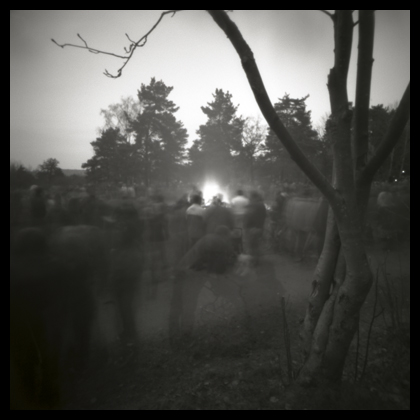 Walpurgis night fire, taken with a Hole-ga, converted Holga camera