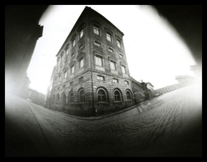 Stockholm's Old town, taken with a cardboard cylinder camera
